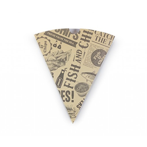 Compostable Newspaper Print Chip Cone
