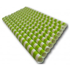 Green Stripe Paper Straws (197x6mm)